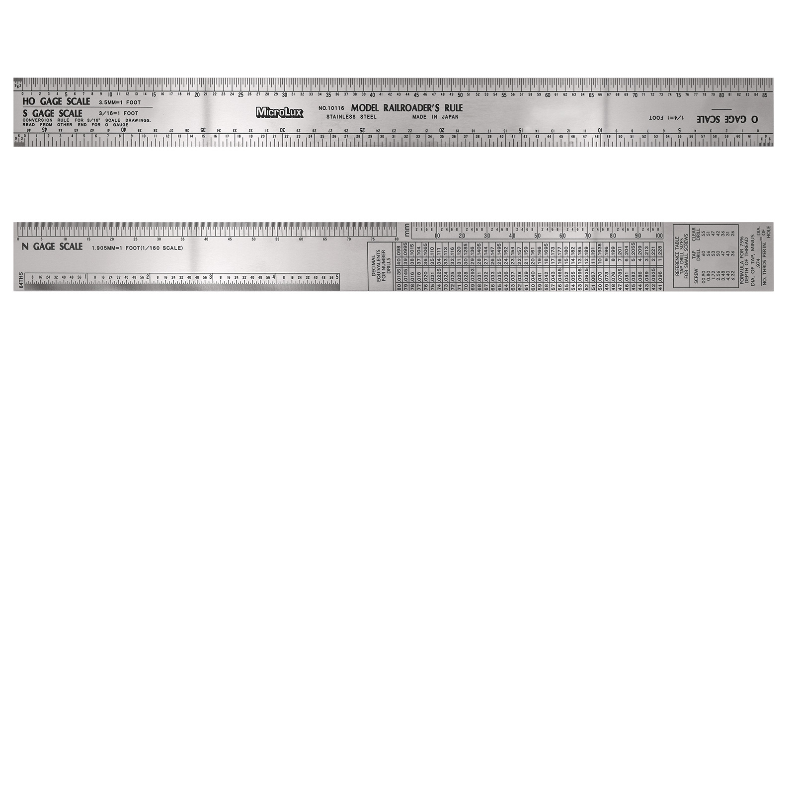 12 Inch Stainless Steel Model Railroader's Ruler (For Ho, O