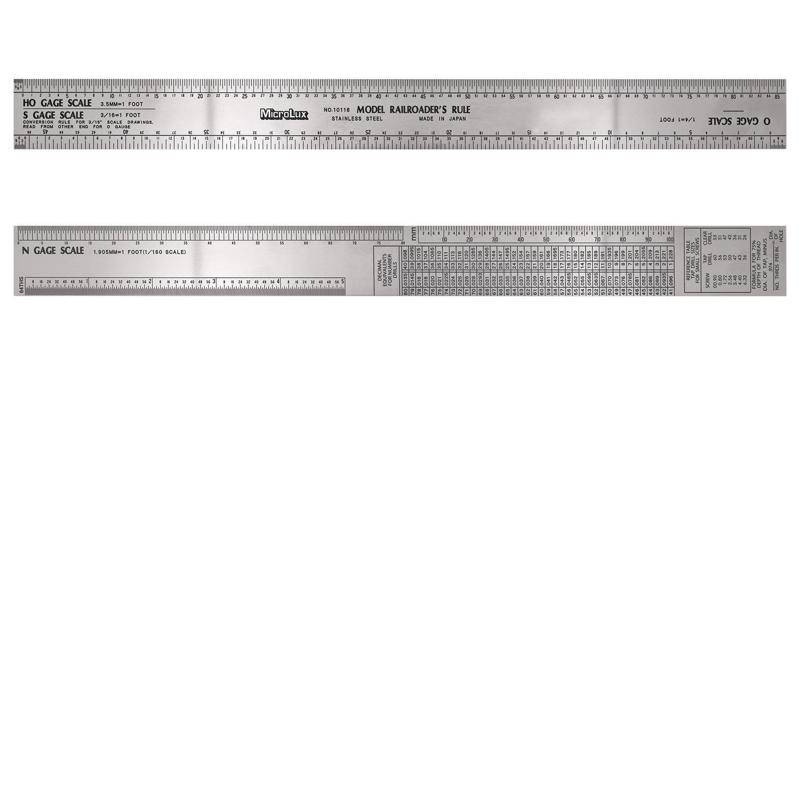 12 Inch Stainless Steel Model Railroader's Ruler (For Ho, O