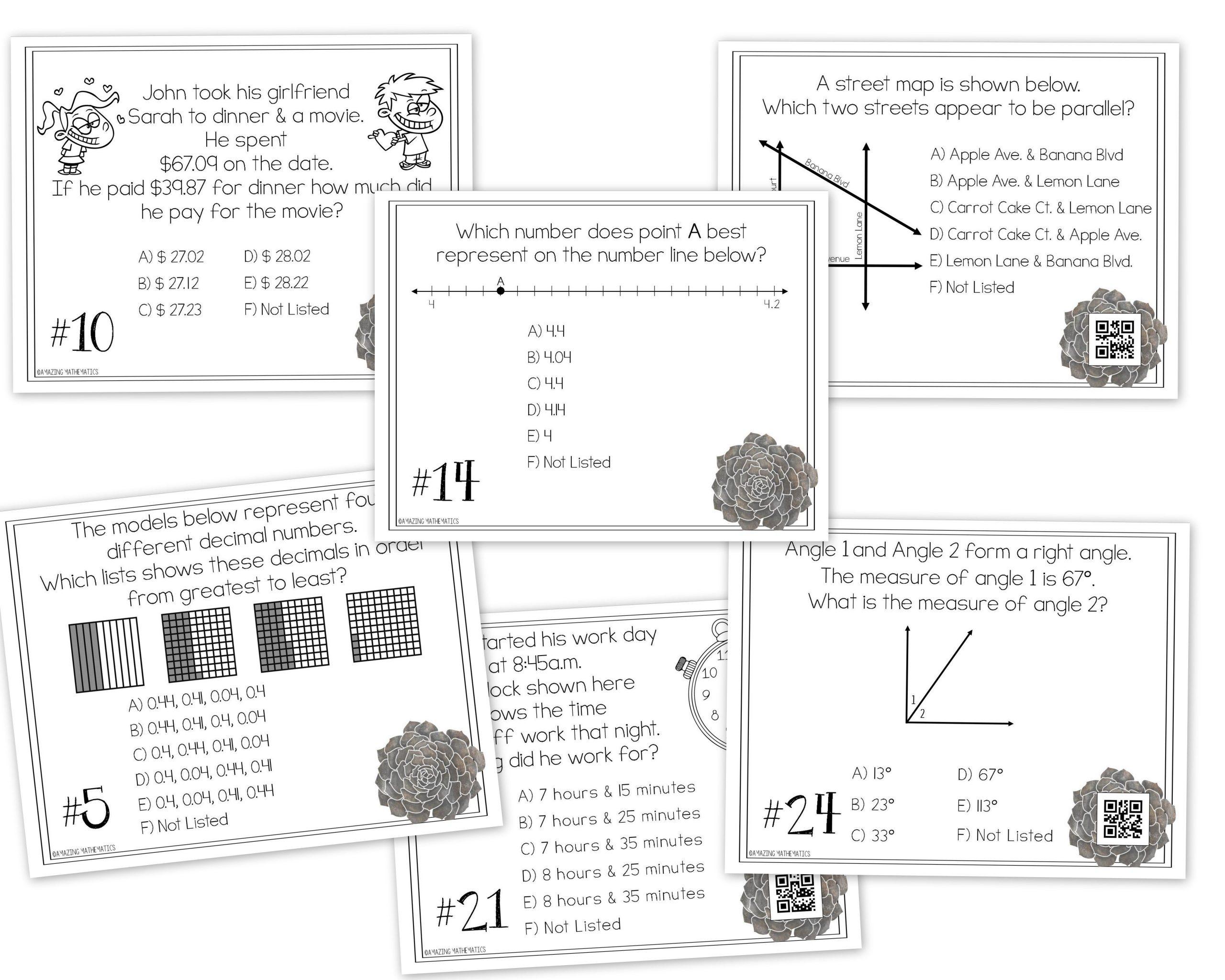 4Th Grade Math Staar Review & Prep - Task Cards | Math