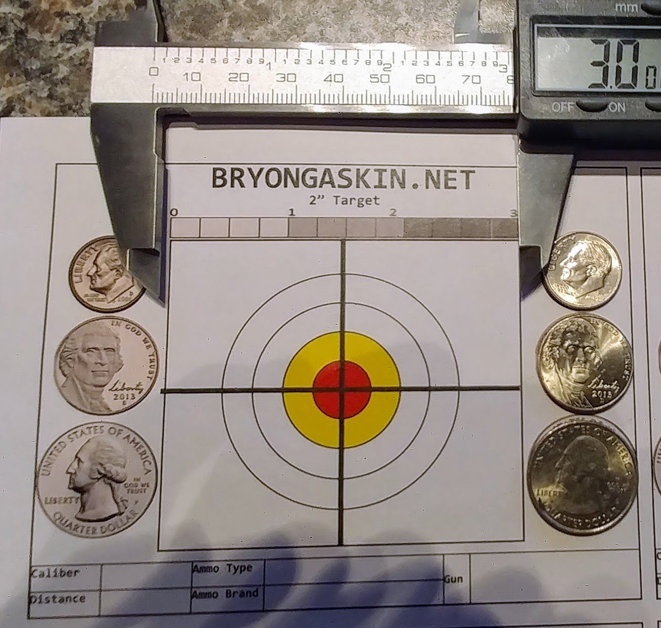 4×4 2″ Printable Target With Us Coin Scale – Bryon Gaskin