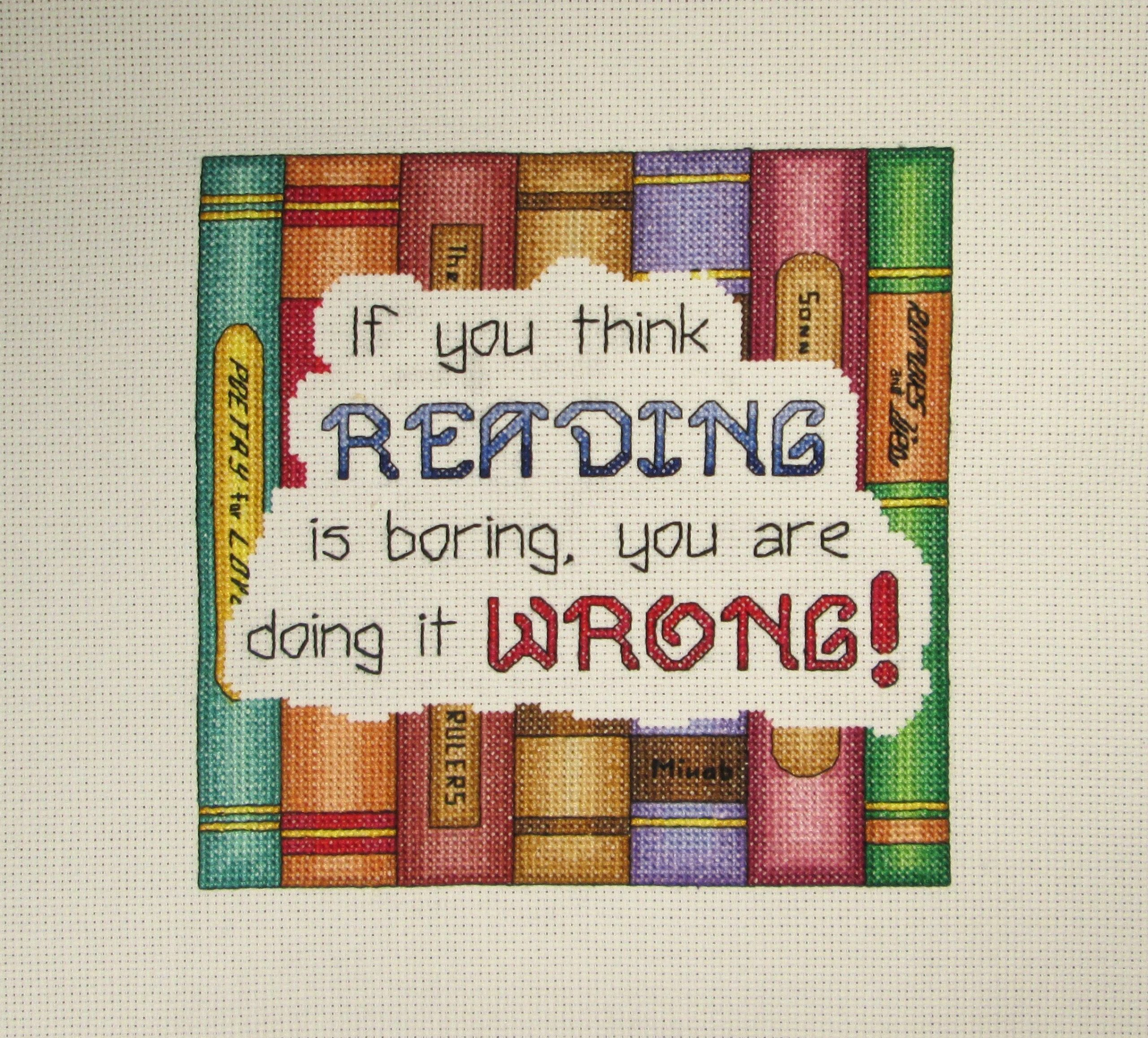 Cross Stitch Pattern - Reading Cross Stitch - Books Cross