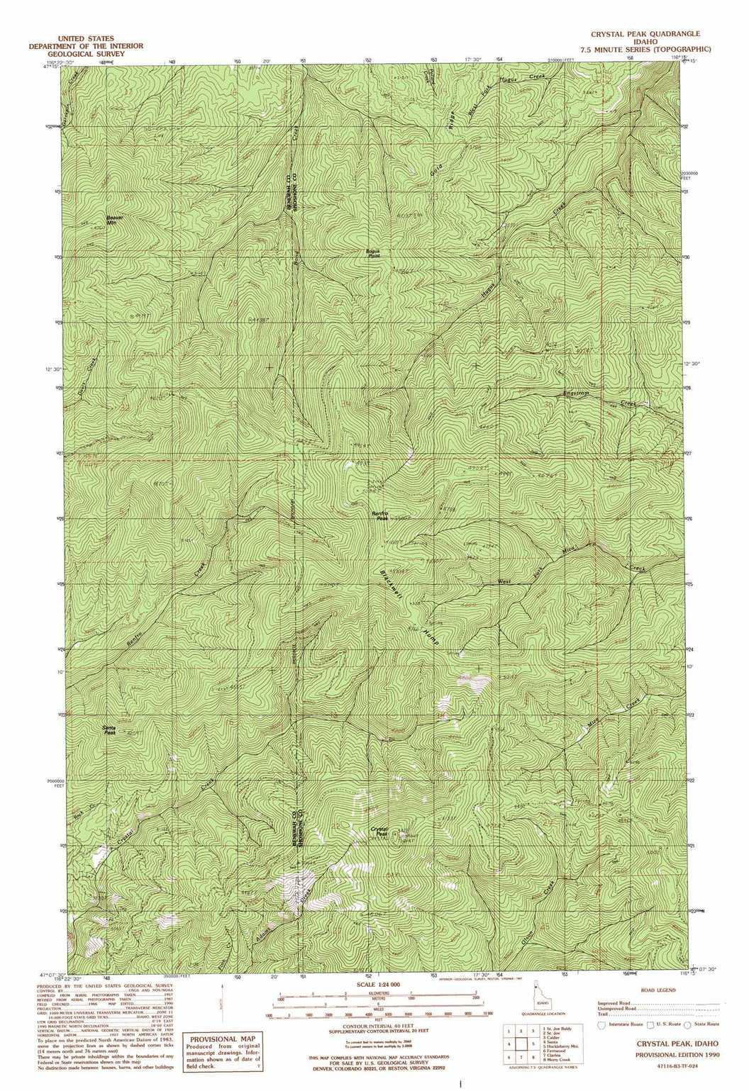 Crystal Peak Topographic Map, Id - Usgs Topo Quad 47116B3