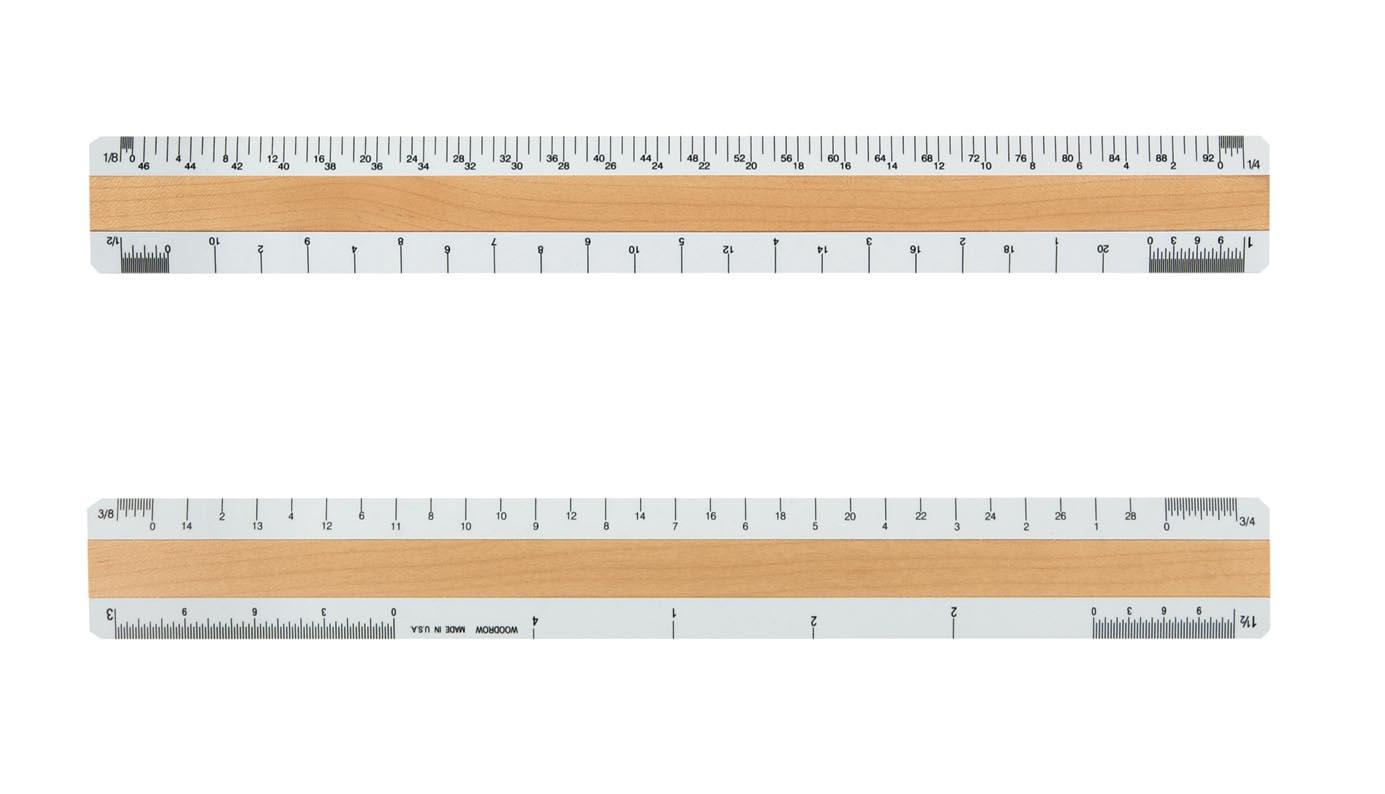 Custom Architectural Rulers, Custom Wood Ruler 12 Inch 4 Bevel