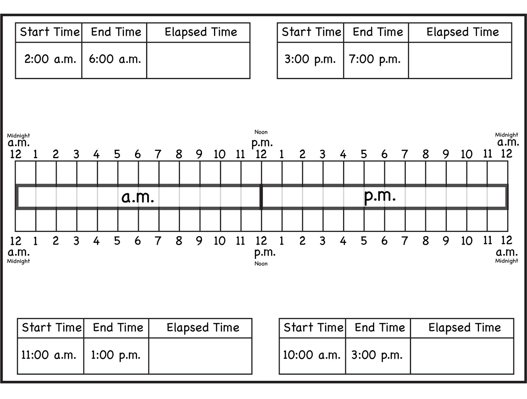 Elapsed Time Ruler To Print | Free Math Worksheets, Math
