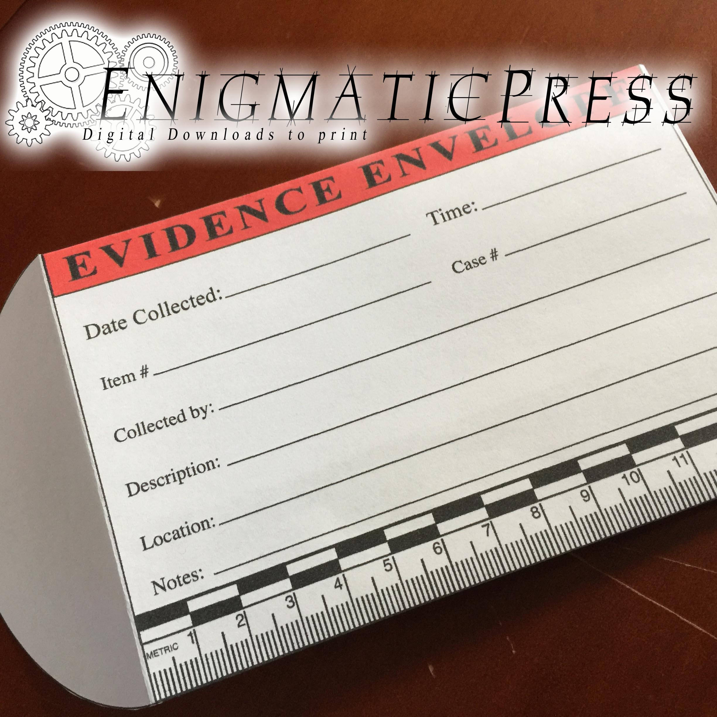 Evidence Envelope With Metric Scale, Home Printable, Editable Pdf Digital  Download, Crime Scene, Murder Mystery, Novelty Prop, Party Favor,