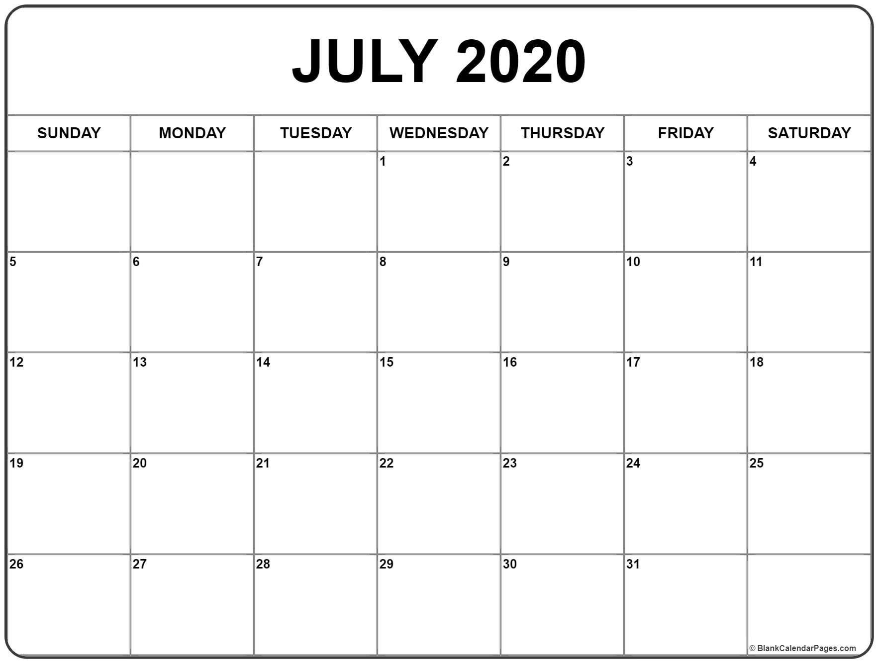 Free July Holidays 2020 Calendar Printable For Usa Uk Canada