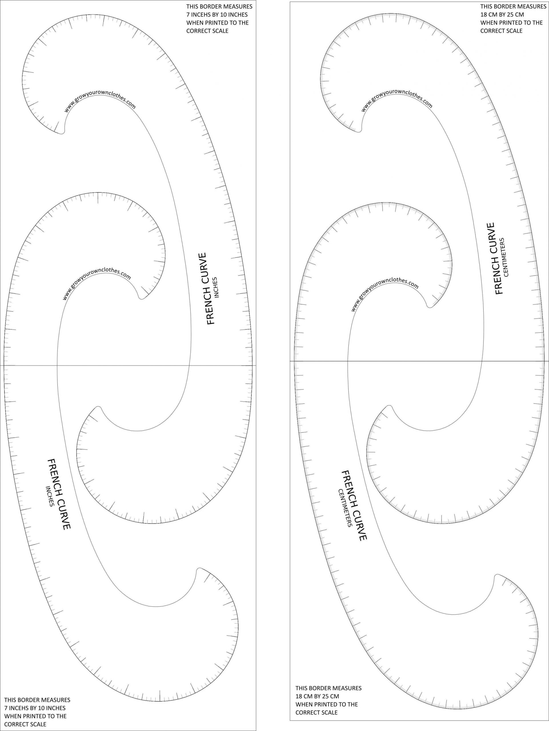 Free Printable Combination French Curve   Grow Your Own Clothes