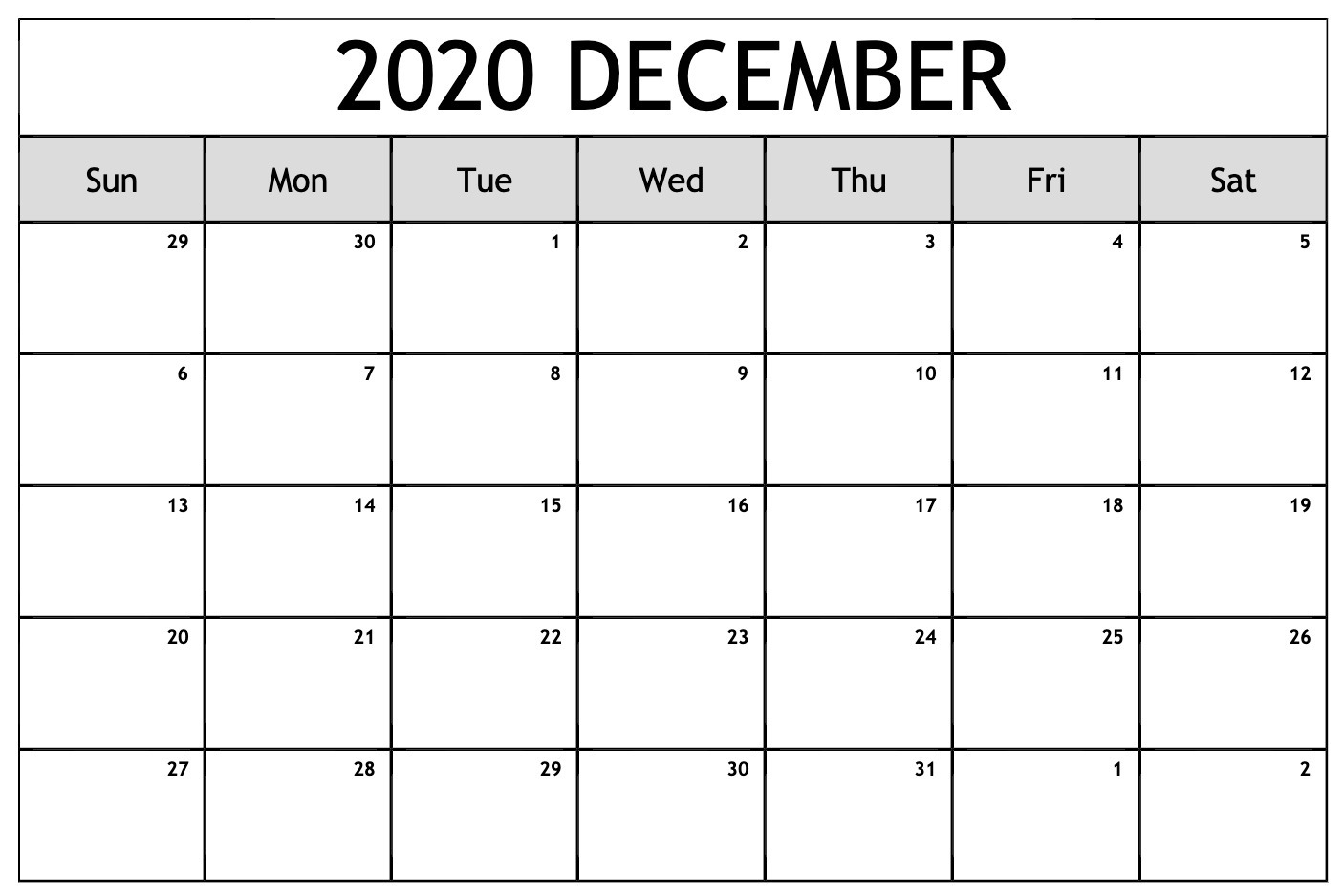Free Printable December Calendar 2020 Templates Pdf, Word, Excel
