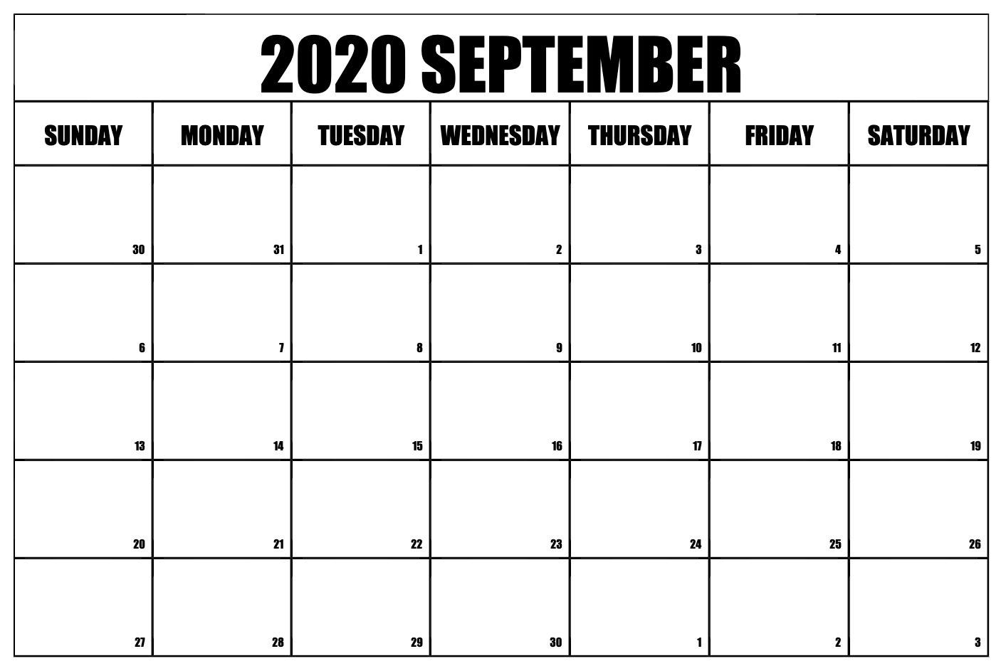 Free Printable September 2020 Calendar Templates