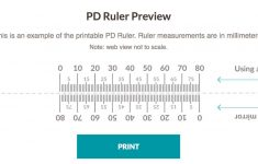 Printable Pupilary Distence Millimeter Ruler