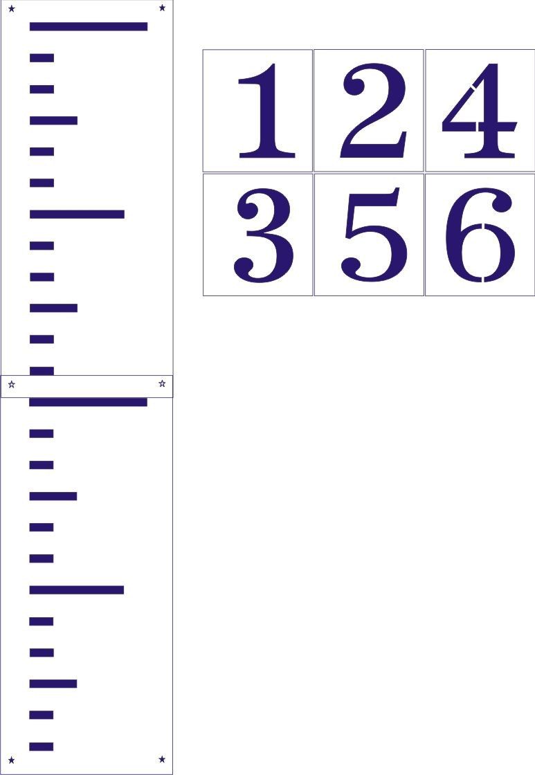 Giant Ruler Stencil Set -Regular Or Growth Chart Style