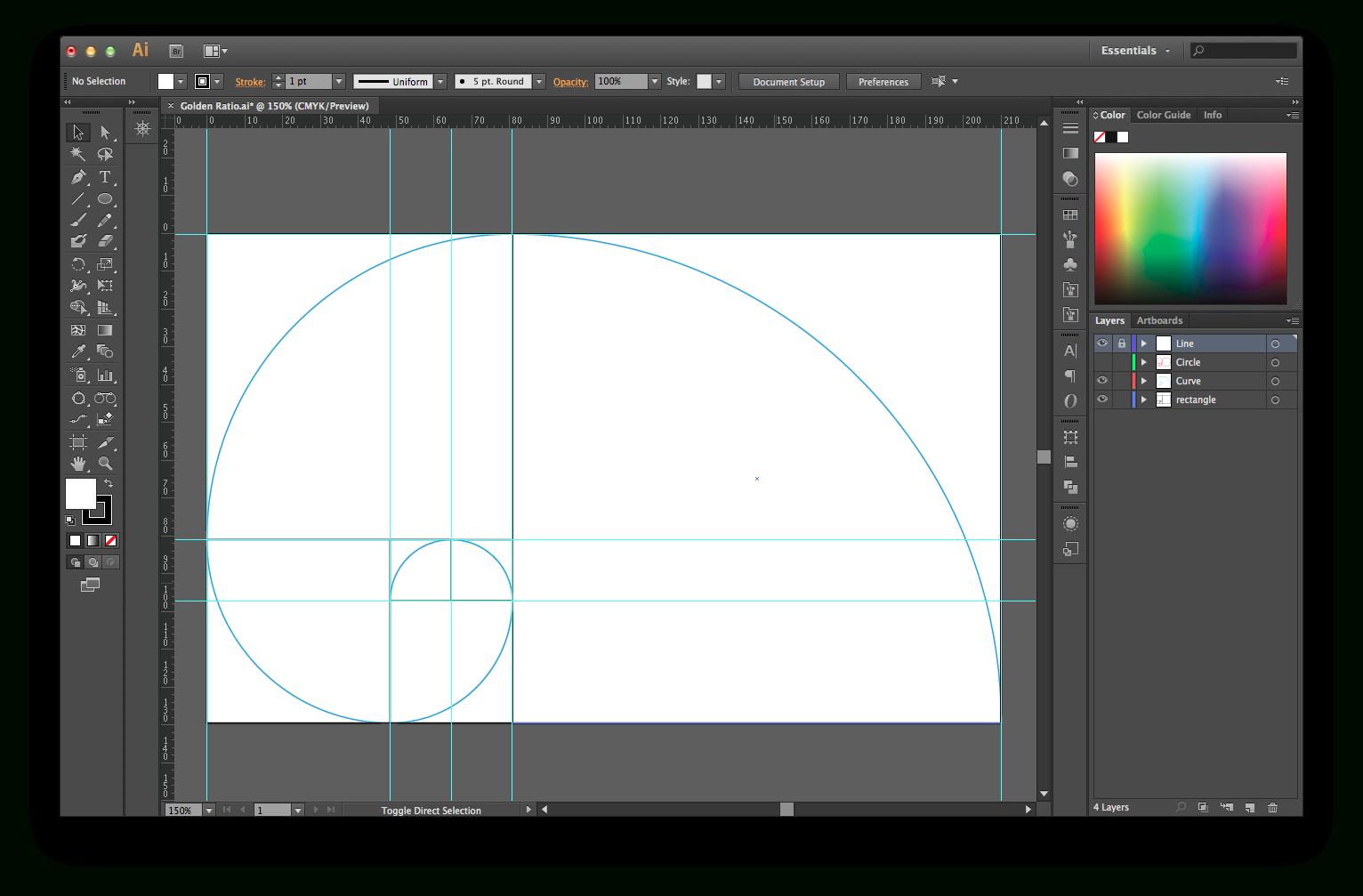 Golden Ratio Illustrator Template | Golden Ratio, Templates
