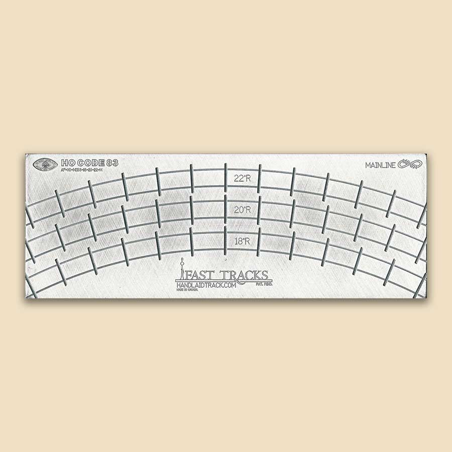 """Ho Scale Mainline, 18""""r, 20""""r, 22""""r Curved Track Fixture For Me Code 83 Rail"""