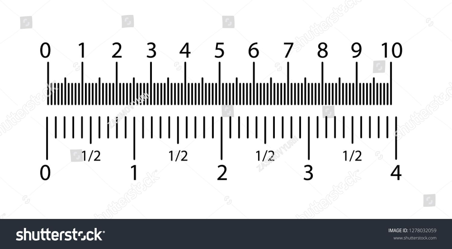 Inch And Metric Rulers Set. Centimeters And Inches Measuring