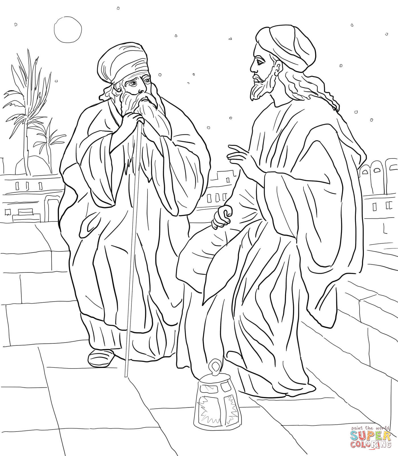 Jesus And Nicodemus Coloring Page | Free Printable Coloring