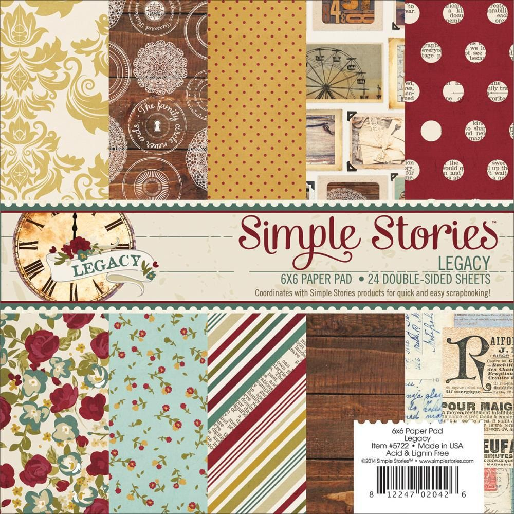 Legacy 6X6 Paper Pad Simple Stories Family Woodgrain