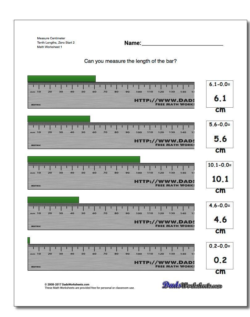 Measure Centimeter Tenth Lengths, Zero Start 2 Metric