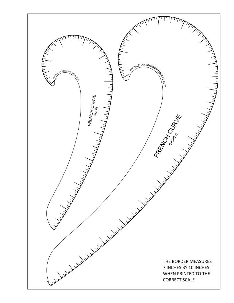 More Free Printable French Curves + Hip Curves   Sewing