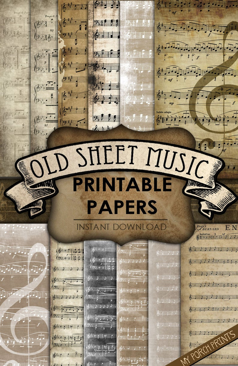Old Sheet Music, Printable Paper, Junk Journal, Scrapbook