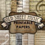 Old Sheet Music, Printable Paper, Junk Journal, Scrapbook