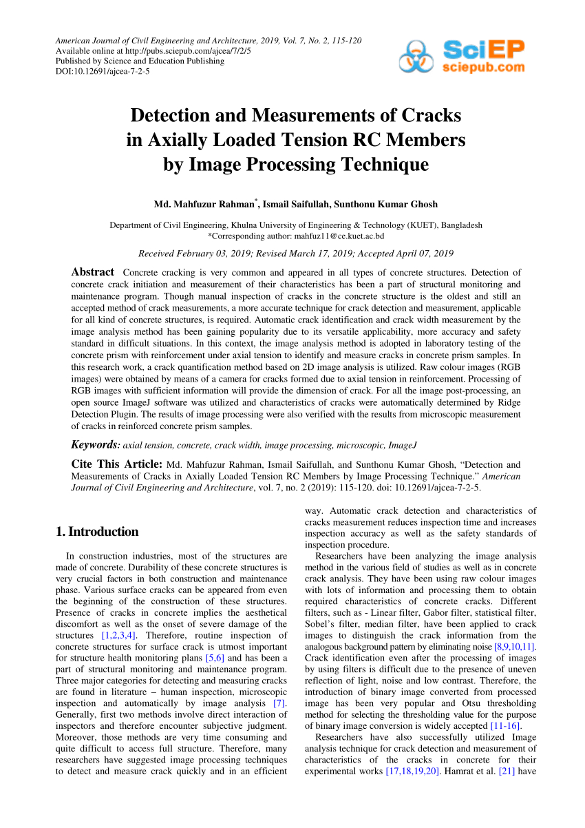 Pdf) Detection And Measurements Of Cracks In Axially Loaded