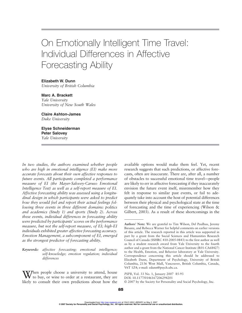 Pdf) On Emotionally Intelligent Time Travel: Individual
