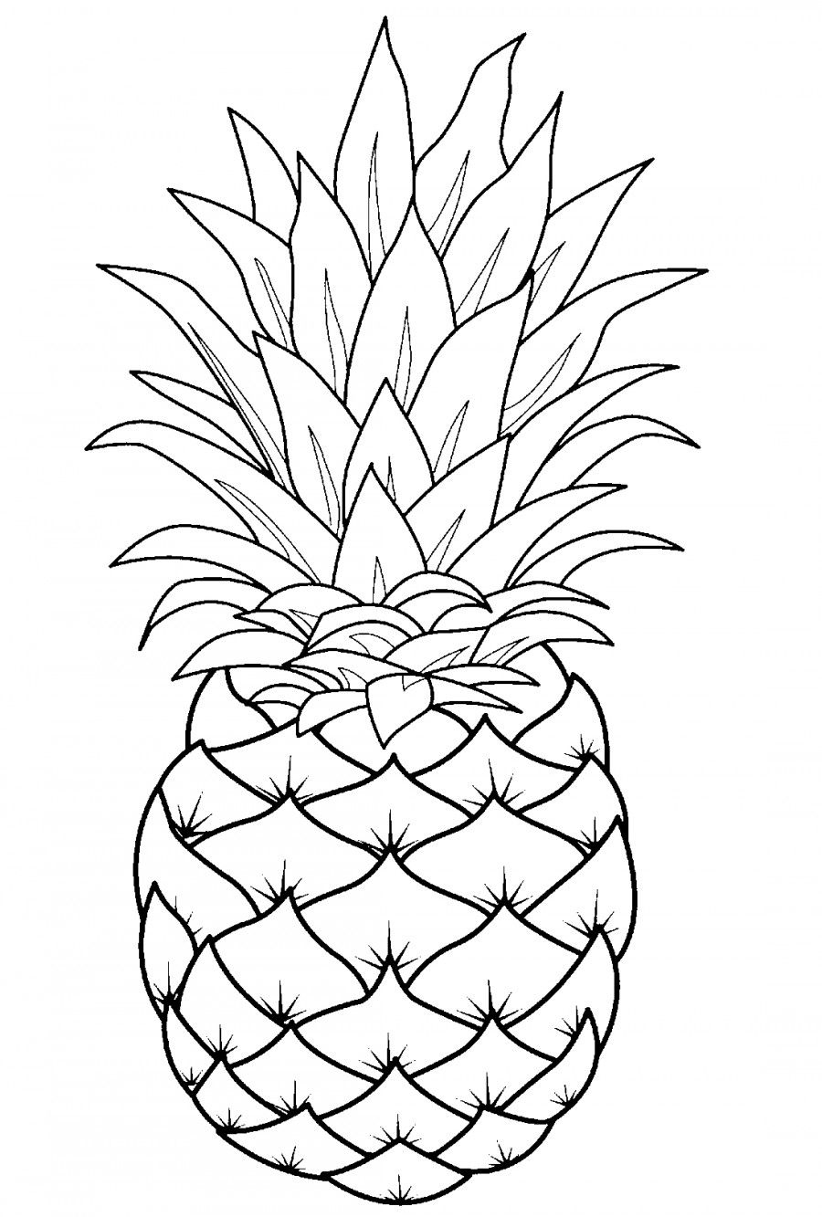 Pineapple Template | Line Art Drawings, Fruit Coloring Pages