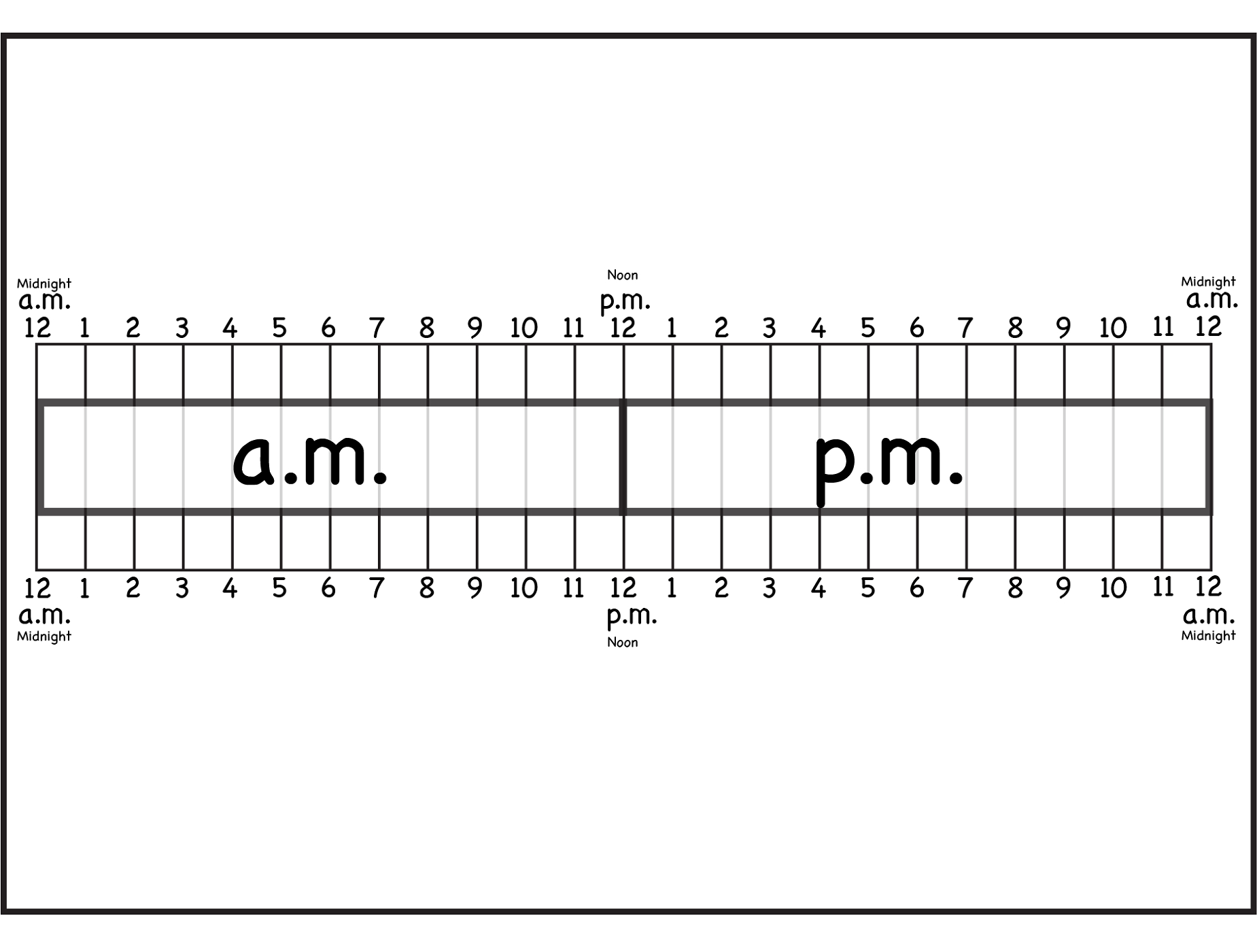 Printable Elapsed Time Rulers | Activity Shelter