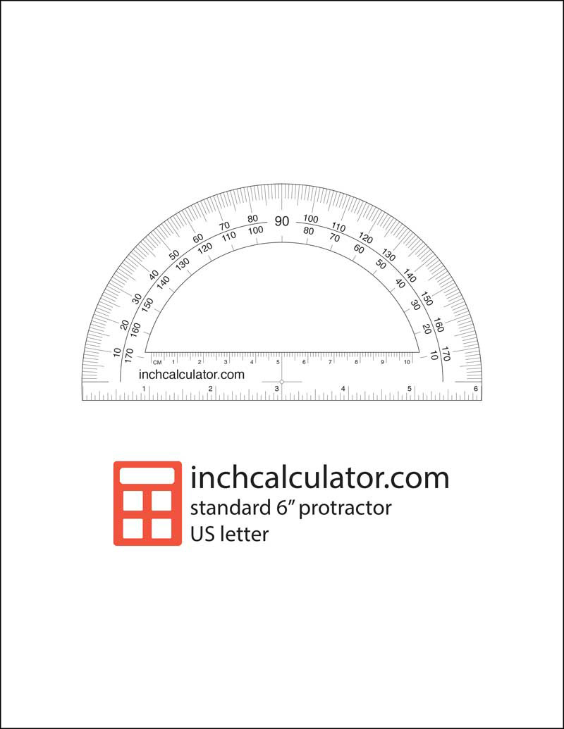 Printable Protractor Download - Inch Calculator