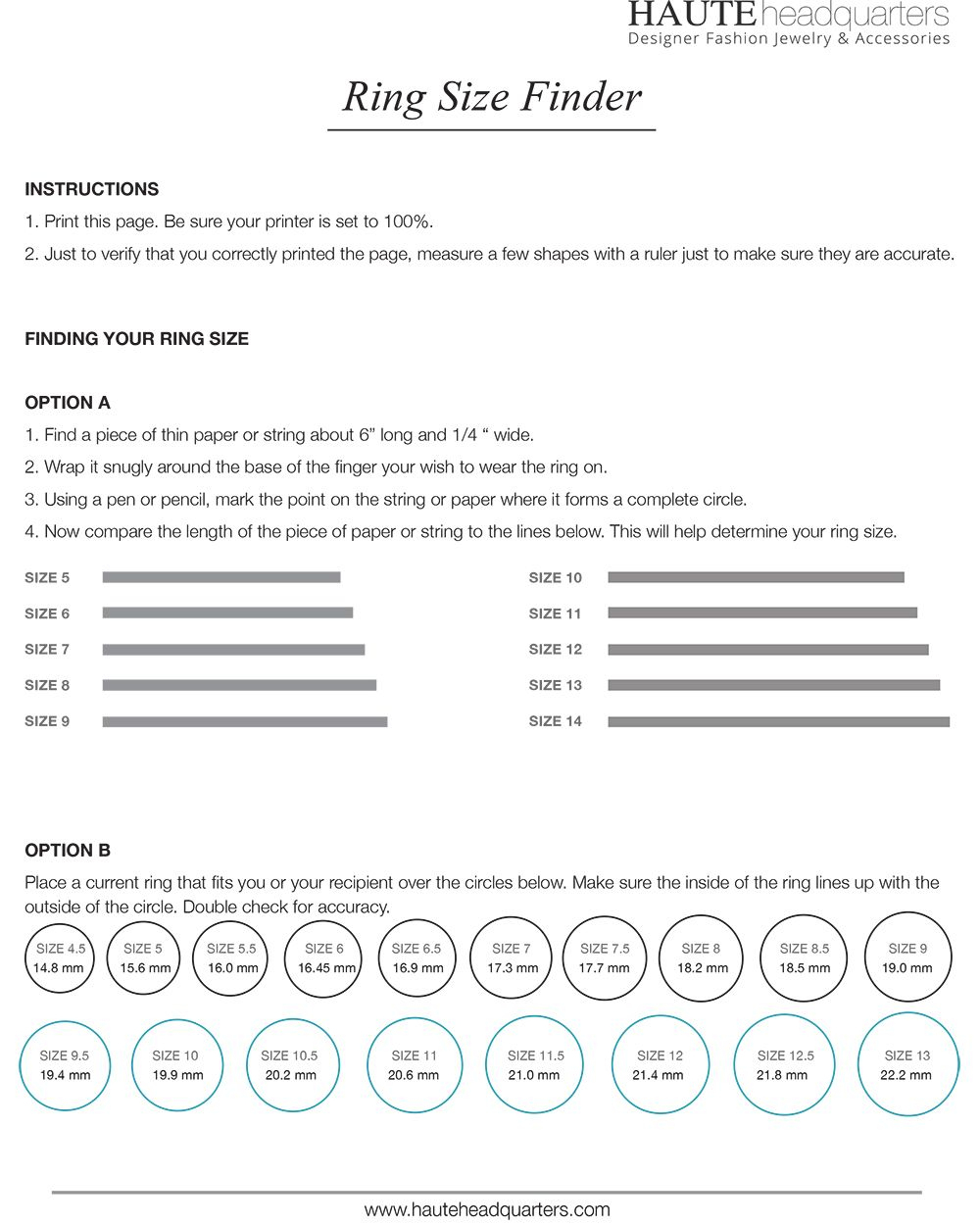 Printable Ring Size Guide From Hauteheadquarters | Designer
