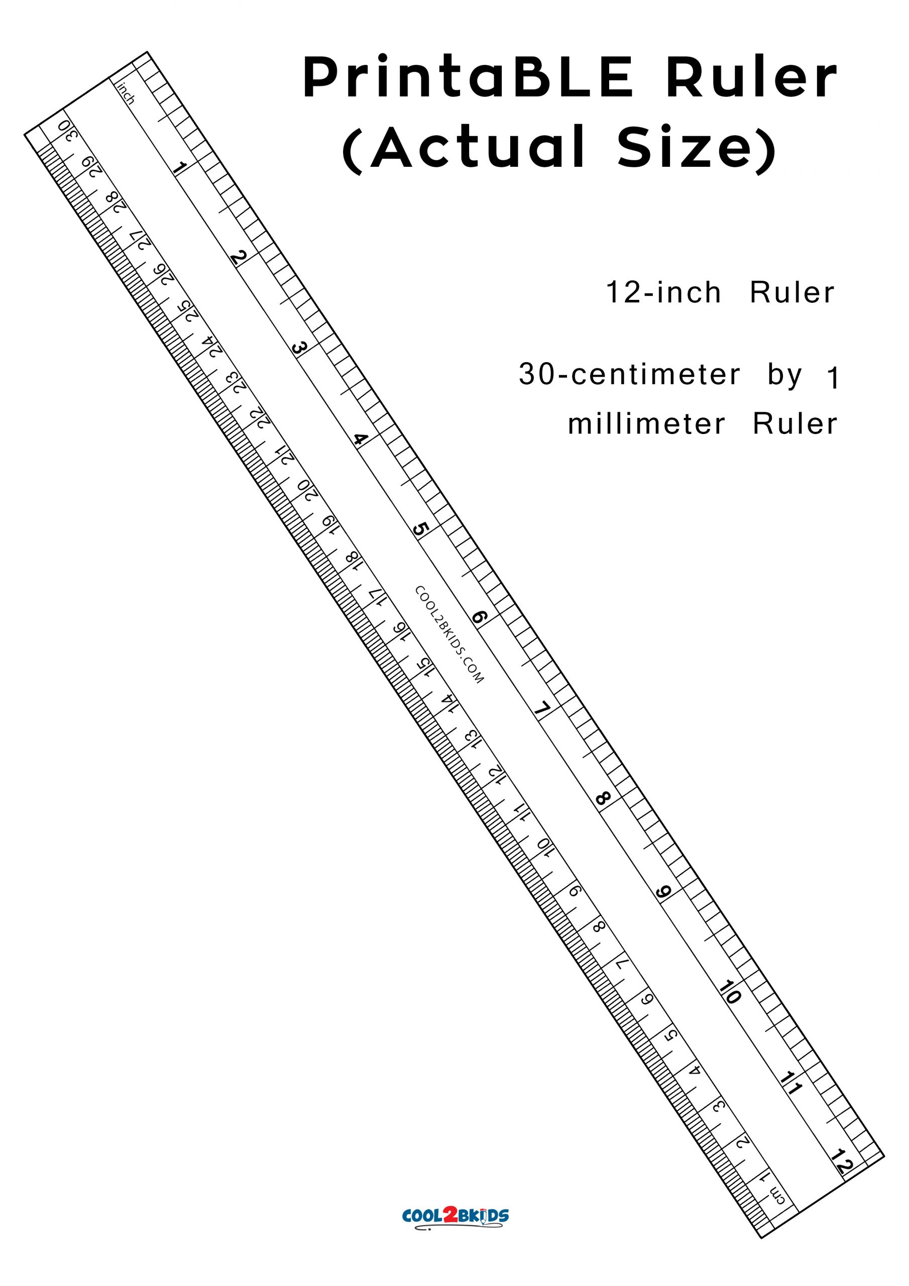 Printable Ruler: 12-Inch Actual Size | Cool2Bkids