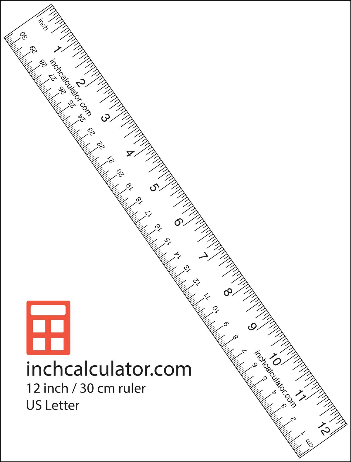 "Printable Rulers - Free Downloadable 12"" Rulers - Inch"