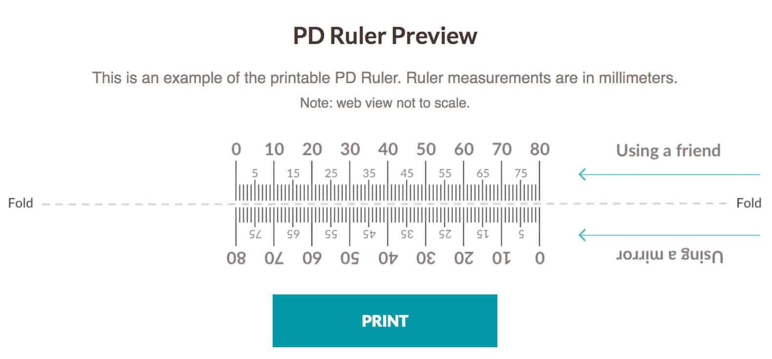 Pupil Distance Ruler