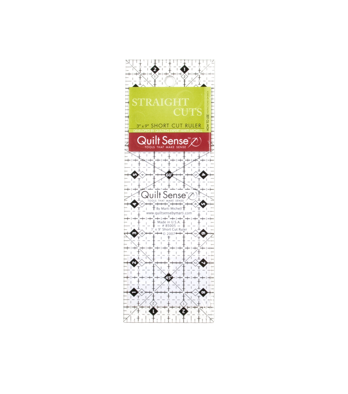"Quilt Sense 3"" X 9"" Short Cut Ruler"