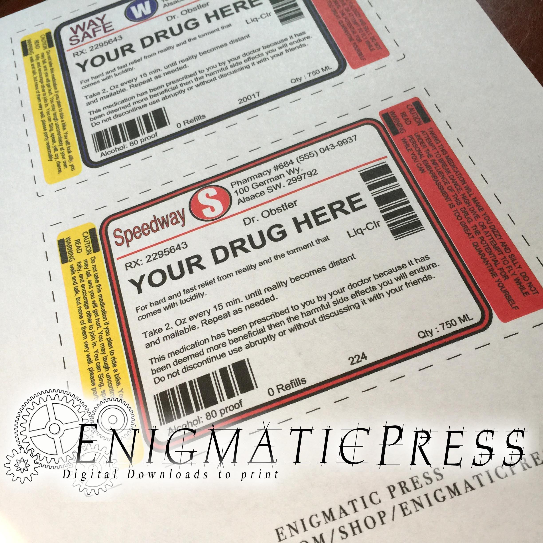 Set Of Large Editable Prescription /liquor Style, Bottle Labels, With Bonus  Peppermint Schnapps, Vodka File, Home Printable Pdf