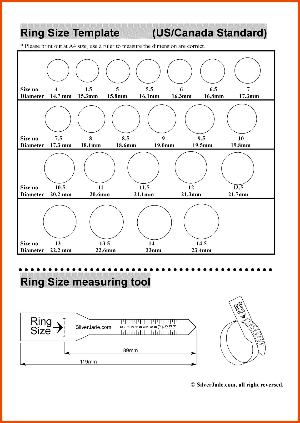 Stupendous Printable Ring Sizes Chart | Mitchell Blog