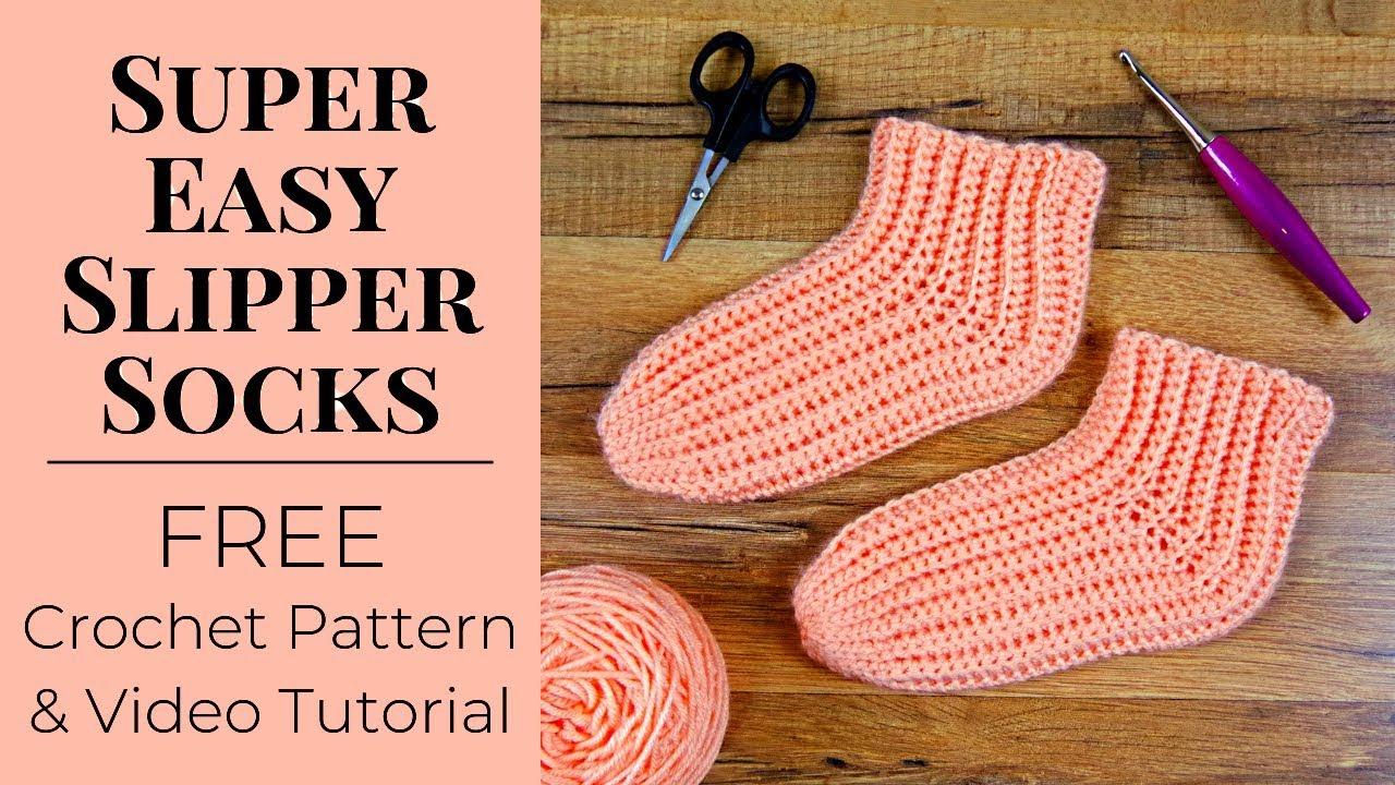 Super Easy Slipper Socks - Free Crochet Pattern For Beginners   Yay For Yarn