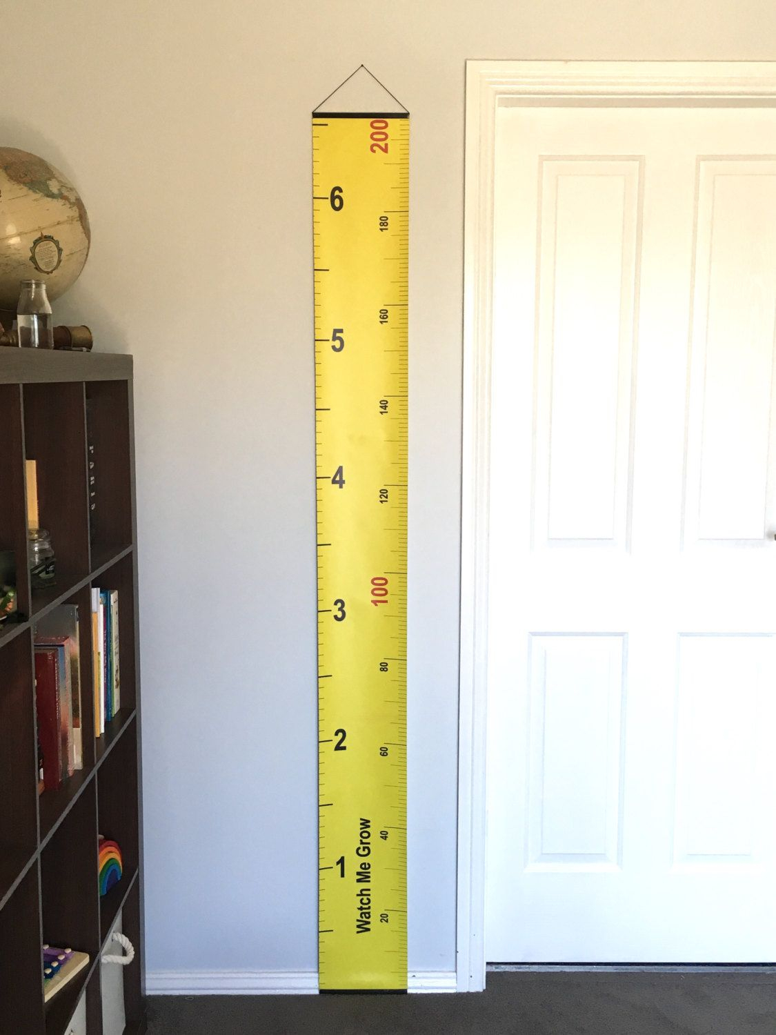 Yellow Tape Measure Hanging Height Chart, Imperial & Metric