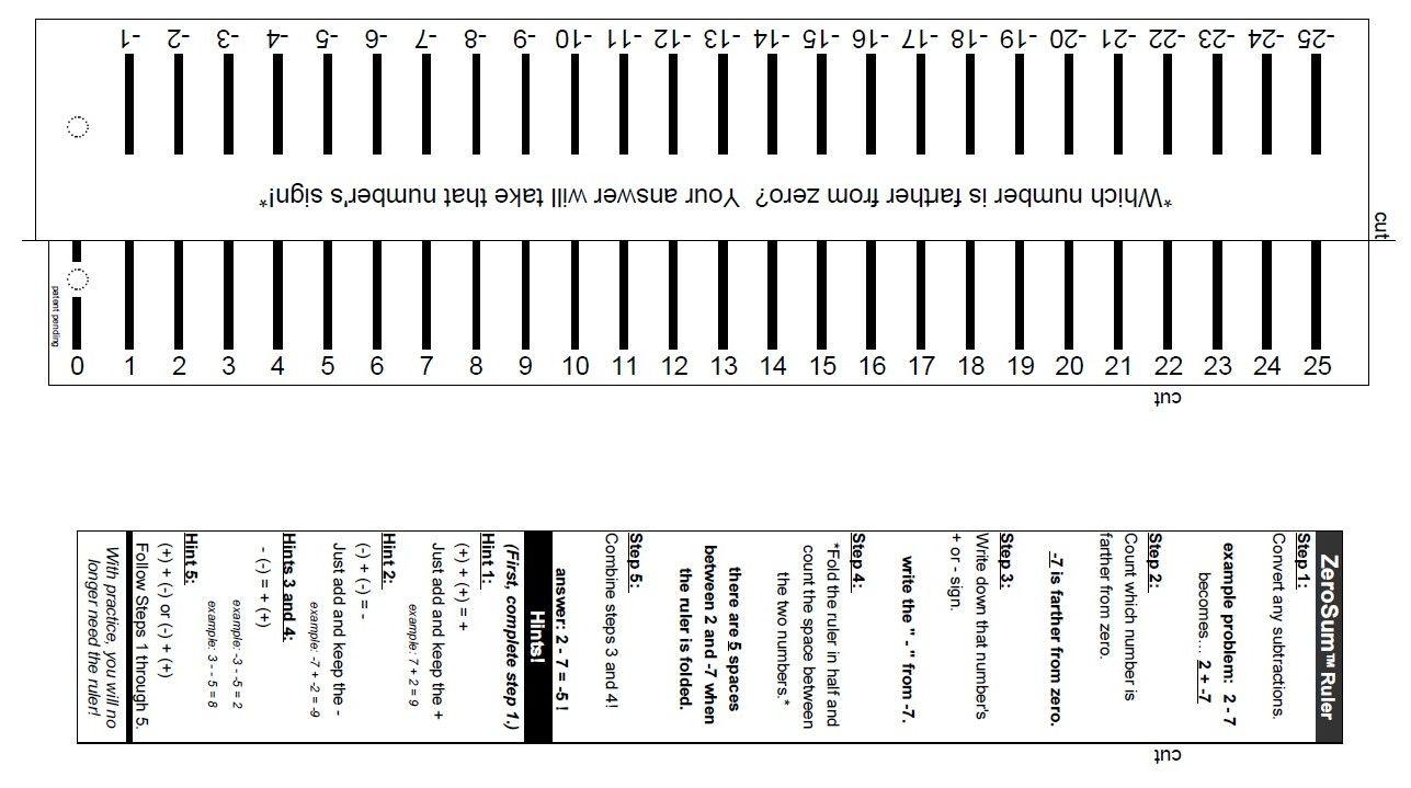 Zerosum Ruler   Math, Negative Numbers, Ruler
